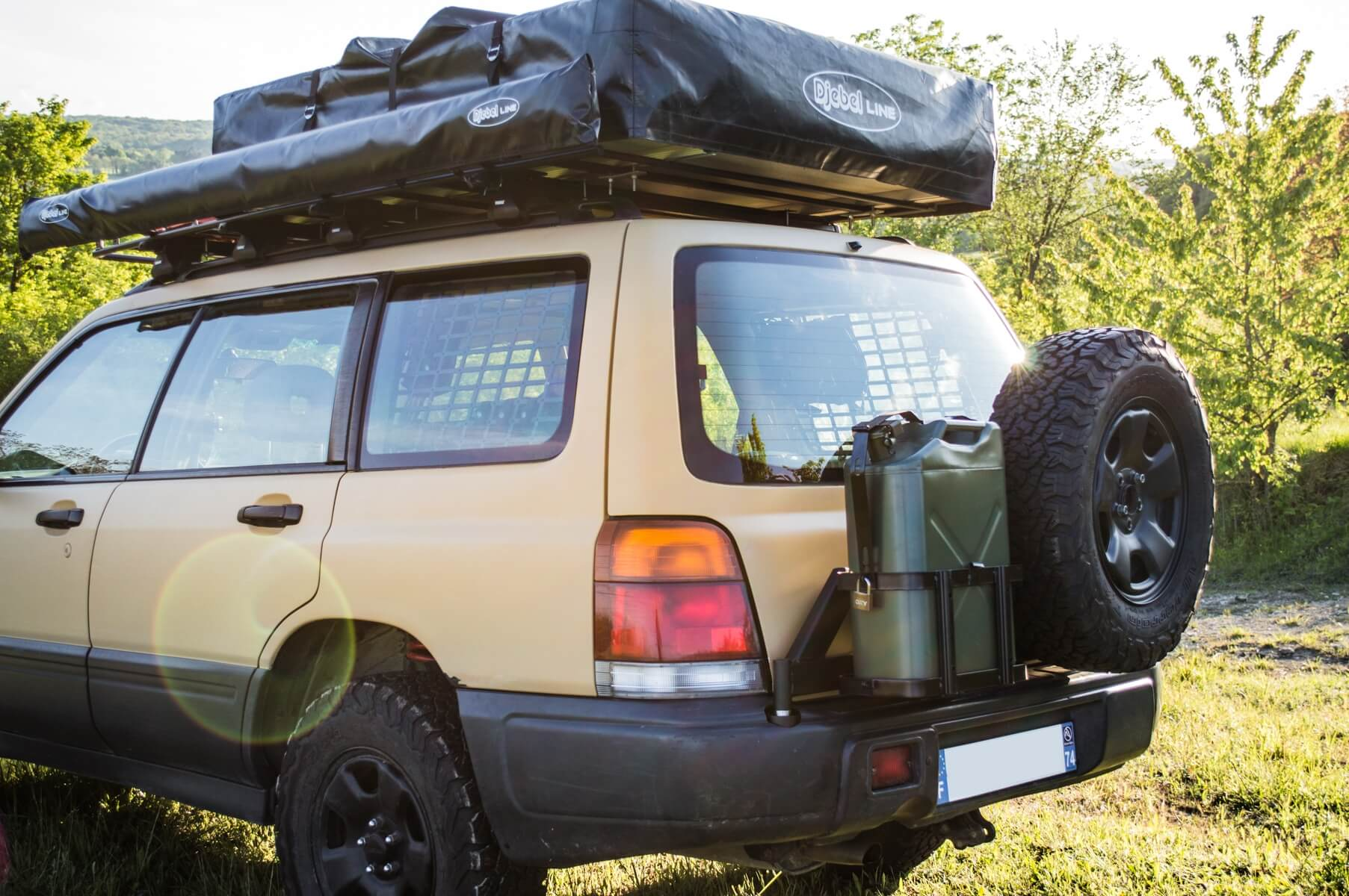 a close up on the subaru forester spare tire carrier